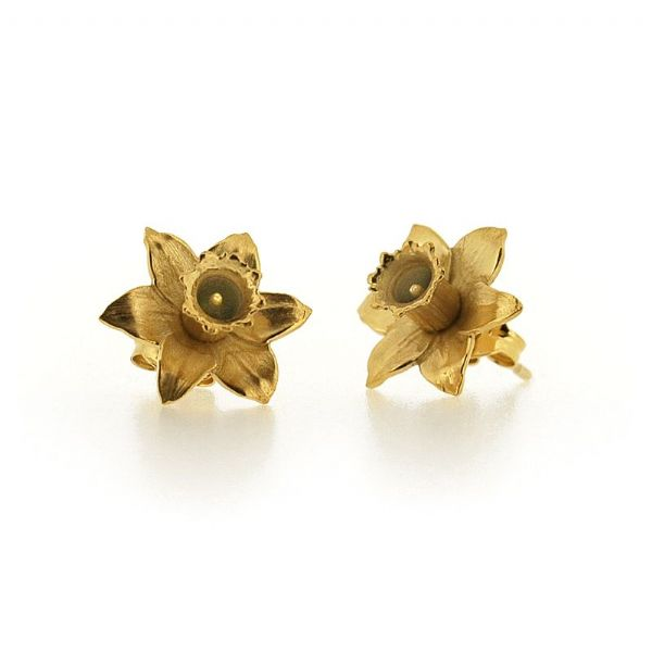 Silver Daffodil Earrings